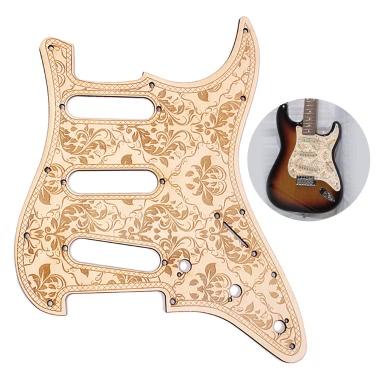 SSS Wooden Guitar Pickguard Maple Wood Decorative Flower Pattern Fender ST Electric Guitars