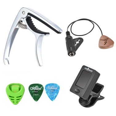 Guitar Accessories Kit Acoustic Guitar Capo Clip-on Tuner Pickup Guitar Pick Holder 2pcs Picks Storage Box