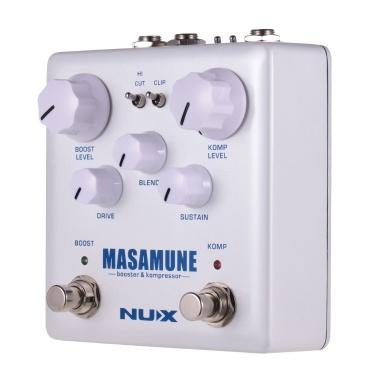 NUX MASAMUNE Booster & Kompressor Analoger Boost-Kompressor-Effektpedal mit zwei Fußschaltern True Bypass