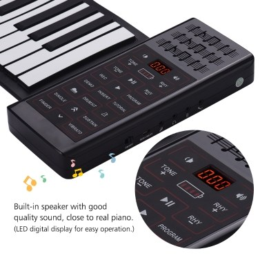 Portable Electric 88 Keys Hand Roll Up Piano Multifunction Digital Piano Keyboard Built-in Speaker Rechargeable Lithium Battery Reverberation BT Function Flexible Silicone Piano Keyboard
