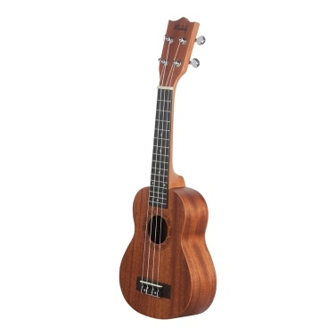 Muslady 21 Inch Soprano Ukulele Ukelele Mahogany Wood with Carry Bag Uke Strap Strings Clip-on Tuner Cleaning Cloth Finger Maraca Pick Holder Celluloid Picks