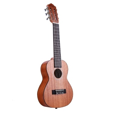 ammoon 28 Inch Acoustic Guitalele Guilele Guitar Ukulele Mahogany Wood Material with Gig Bag Strap Spare Strings