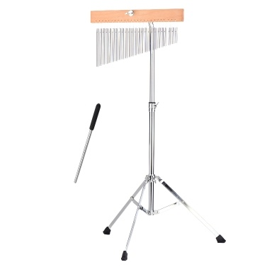 25 Bells Barchime Bar Chimes Single-Row Solid Aluminum Bar Wind Chimes Musical Percusion Instrument with Adjustable Mounting Stand