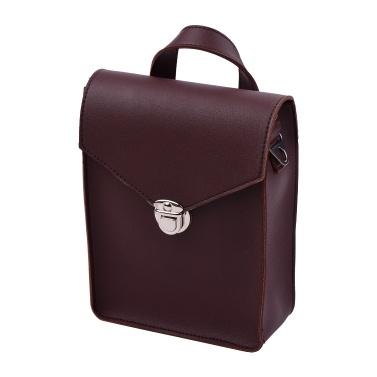 Tragbare Kalimba Aufbewahrungstasche PU-Leder Multifunktionale Daumen-Klaviertasche Mbira Gig-Tasche mit Riemen Dunkelbraun