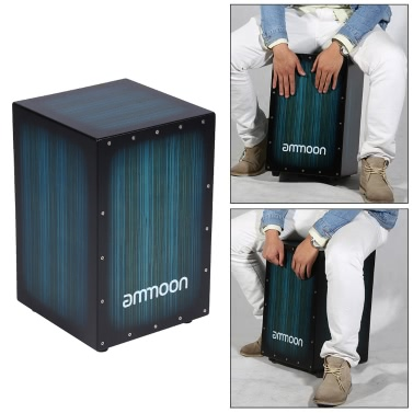 ammoon Wooden Box Drum Cajon Hand Drum Persussion Instrument Zebra Wood with Stings Rubber Feet 30 * 31 * 48cm