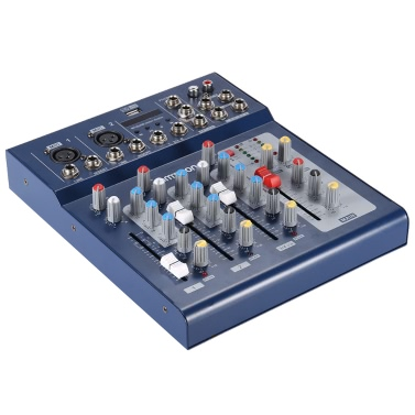 ammoon F4-USB 3 Kanal Digital Mikrofon Line Audio Mix Mixer Konsole mit 48V Phantomspeisung für die Aufzeichnung von DJ Bühne Karaoke Musik Wertschätzung