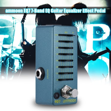 ammoon EQ7 Minigitarren Equalizer-Effekt-Pedal 7-Band-EQ Aluminiumgehäuse True Bypass