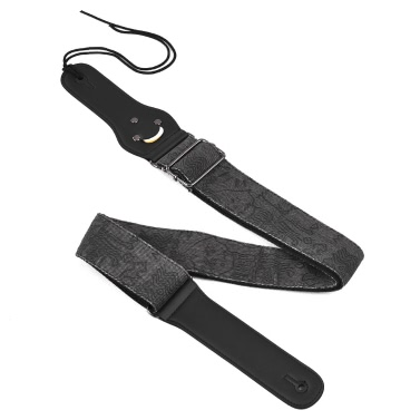 Soft Adjustable Guitar Shoulder Strap Denim Belt PU Synthetic Leather Ends Small Pocket 3pcs Guitar Picks Acoustic Folk Classic Electric Guitars Bass