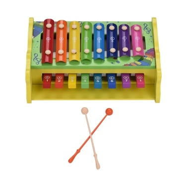43% OFF Multifunctional 2-in-1 Wooden Xylophone Glockenspiel 8 Notes,limited offer $17.19