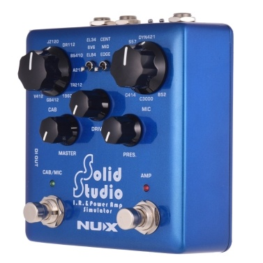 NUX Solid Studio IR- und Leistungsverstärker-Simulator Gitarreneffekt Doppelfußschalter Eingebauter 8-Schrank 8 Mikrofon 3 Röhrenverstärker-Simulation True Bypass