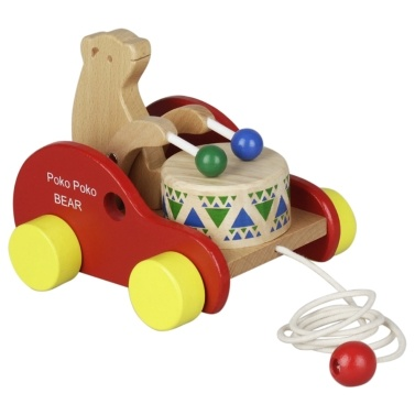 55% OFF Wooden Bear Drum Pull Along Toy,