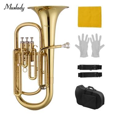 Muslady Brass B Flacher Bariton B Blasinstrument Goldlackoberfläche