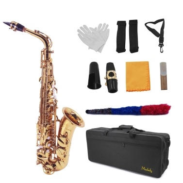 Muslady AS-100 Eb Alto Saxophone Sax Brass Lacquered Gold 802 Key Type Woodwind Instrument