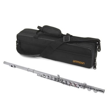 ammoon FL-100N Closed Hole C Flute 16 Keys Cupronickel Nickel-plated Wind Instrument