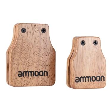 ammoon Large & Medium 2pcs Cajon Box Drum Companion Accessory Castanets for Hand Percussion Instruments