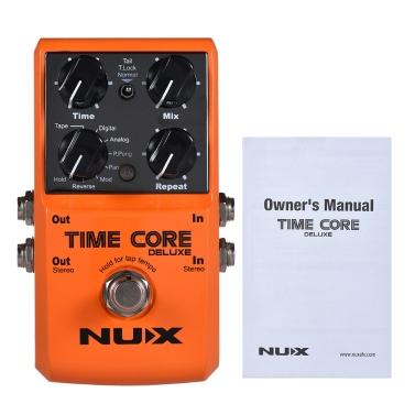 NUX TIME CORE DELUXE E-Gitarren-Digitalverzögerungs-Effektpedal mit 7 Verzögerungsarten 40s Loop Recording True Bypass