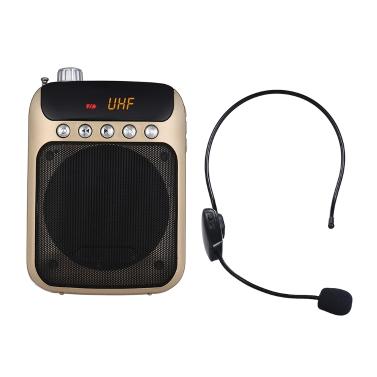 UHF Mini Amplificador de Amplificador de Voz Portátil Altavoz Radio FM con Micrófono Auricular Inalámbrico Mic Compatibilidad Tarjeta TF