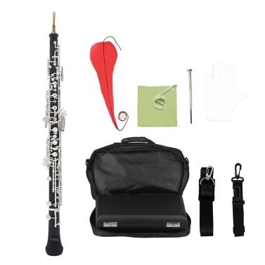 Muslady Professional C Key Oboe Halbautomatischer Stil Versilberte Schlüssel Holzblasinstrument mit Oboe-Schilfhandschuhen Ledertasche Tragetasche Halsband Reinigungstuch Mini-Schraubendreher