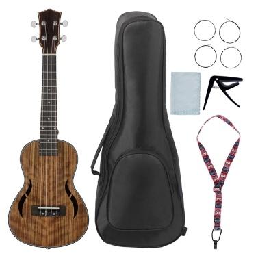 21 Inch Acoustic Soprano Ukulele Ukelele Uke Mahogany Wood Nylon Strings Close Type Tuning Pegs Carry Bag Capo Cleaning Cloth Strings