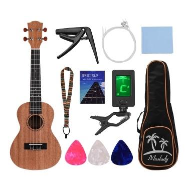 Muslady 21 Inch Soprano Ukulele Ukelele Mahogany Plywood with Carry Bag Uke Strap Strings Clip-on Tuner Cleaning Cloth Capo 3pcs Celluloid Picks