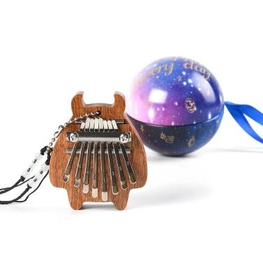 8-Tasten Mini Kalimba tragbare Daumen Finger Piano Percussion Pocket Musikinstrument mit Halskette