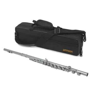 ammoon FL-200S Closed Hole C Flute 16 Keys Cupronickel Silver-plated Wind Instrument