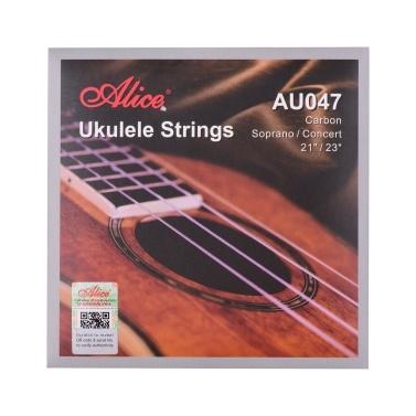 Alice AU047 Ukulele Strings Carbon Soprano Concert String Set for Ukulele from 21 Inch to 23 Inch