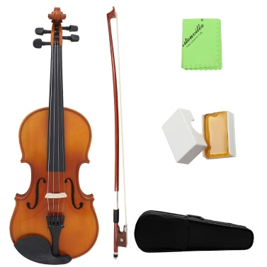 Full Size 4/4 Natural Acoustic Solid Wood Spruce Flame Maple Veneer Violin Fiddle Beginner Student Performer Case Rosin Wiper Christmas Gift Present