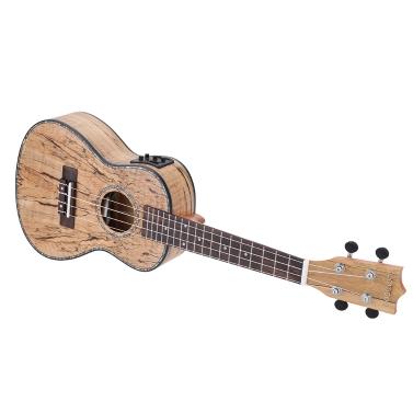 """ammoon 24"""" Deadwood (seltene Material) Ukulele Hawaii Gitarre mit LED EQ Cowry Shell Rändern OX Bone Sattel 4 Saiten Instrument Geschenk vorhanden"""