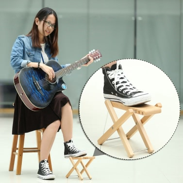 Foldable Wood Guitar Pedal Guitar Foot Rest Stool 3 Adjustable Height Levels Beech Wood Material