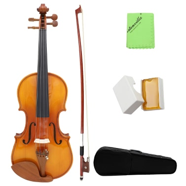 Full Size 4/4 Natural Acoustic Solid Wood Spruce Flame Maple Veneer Violin Fiddle for Beginner Student Performer  Jujube Wood Parts with Case Rosin Wiper Christmas Gift Present