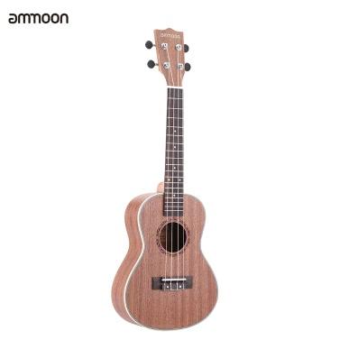 """ammoon 24"""" Sapeli Ukulele 4 Strings mit Rosewood Fretboard weißen Rändern Musical Instrument Silvester Tag Geschenk vorhanden"""