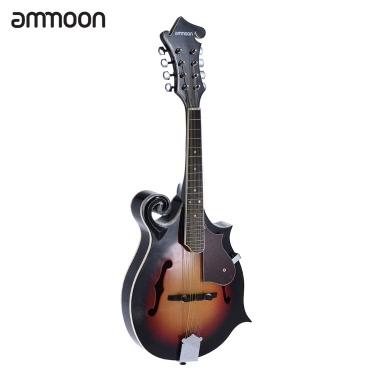 ammoon Mandolin Spruce Top Basswood Back & Side Board Rosewood Fingerboard Steel String F-Style