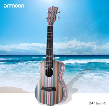 "ammoon Färbte 24 ""Acoustic Sopran-Ukulele Ukelele Uke Holz 18 Frets 4 Strings Okoume Hals Palisander Griffbrett Saiteninstrument Musical-Geschenk"