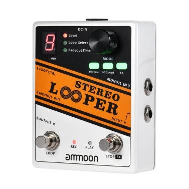 ammoon STEREO LOOPER Loop-Aufnahme Gitarren-Effektpedal 10 unabhängige Loops Max