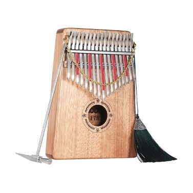 Ammoon Thumb Klavier Kalimba Mbira Sanza 17 Tasten Swartizia Spp Massivholz mit Tragetasche Musikbuch Musikwaage Aufkleber Stimmhammer Musikalisches Geschenk AKP-17H