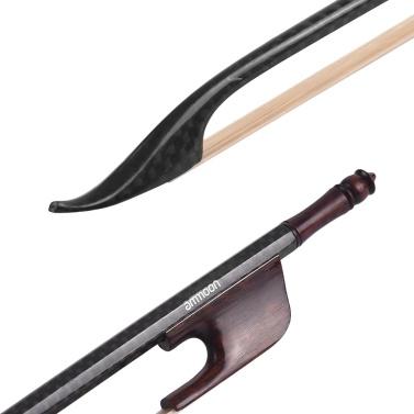 ammoon Barock 4/4 Violine Geigenbogen Kohlefaser Rundstab Schlangenholz Frosch Weiß Rosshaar Gut ausgewogen