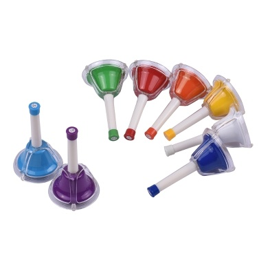 8 Note Diatonic Metal Bell Colorful Handbell Hand Percussion Bells Kit Musical Toy Kids Children Musical Learning Teaching