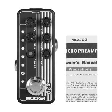 Mooer MICRO PREAMP Serie 020 BLUENO Digital Preamp Vorverstärker Gitarreneffektpedal Cabinet Simulation Zweikanaliger 3-Band EQ mit True Bypass