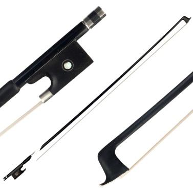 4/4 Violin Bow Graphite Black Carbon Round Ebony Frog