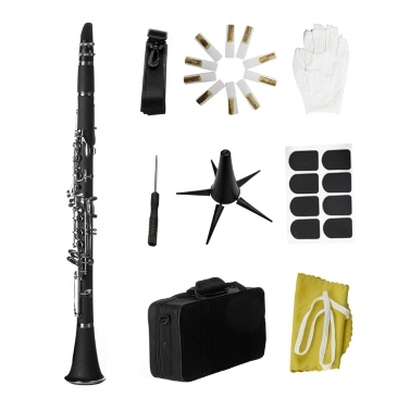 Bb B Flat Clarinet Clarionet Bakelite with Case Reeds Rubber Pads Gloves Strap Cleaning Cloth