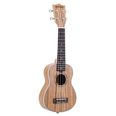 """Ammoon Zebrawood 21 """"Akustyczna Ukulele 15 Fret 4 Strings Strunowe Instrumenty Muzyczne"""