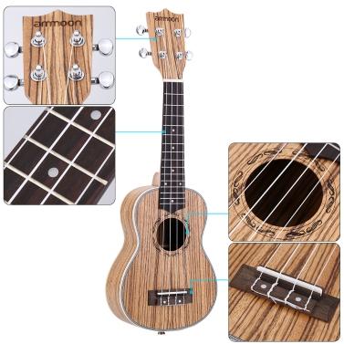 "ammoon Zebrawood 21"" akustische Ukulele 15 Fret 4 Strings Stringed Musikinstrument"