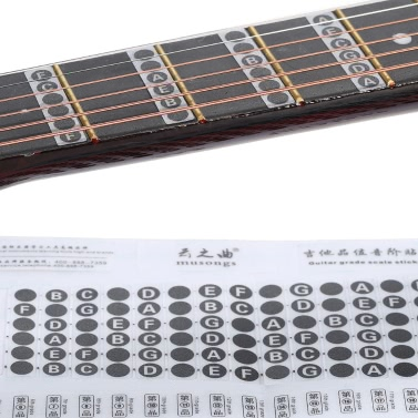 Guitar Word Melody Fingerboard Fretboard Grade Fret Scale Sticker Note Label Decal NeckNote 6 Strings Acoustic Classic Electric Guitar Beginner Learning Practice