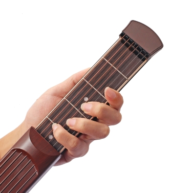 ammoon Portable Pocket Acoustic Guitar Practice Tool Gadget Chord Trainer 6 String 6 Fret Model Rosewood Fretboard Wood Grain Beginner Learner