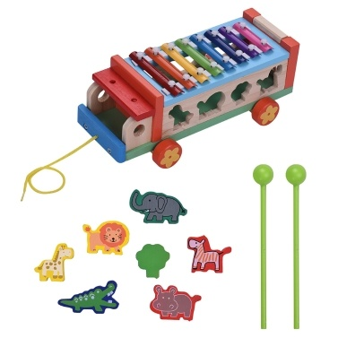 47% OFF Multifunctional Wooden Toy Car with 8 Notes Xylophone Glockenspiel,limited offer $15.93
