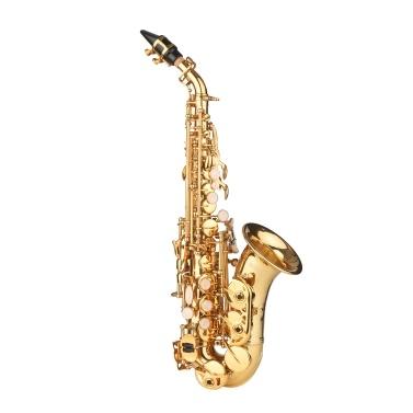 ammoon Bb Sopransaxophon Goldlack Messing Saxophon mit Instrumentenkoffer