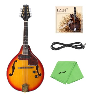 ammoon Adjustable 8-String Electric Style Mandolin Rosewood Fingerboard String Instrument Cable Strings Cleaning Cloth