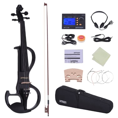 ammoon Full Size 4/4 Solid Wood Electric Silent Violin Fiddle Style-3 Ebony Fingerboard Pegs Chin Rest Tailpiece Bow Hard Case Tuner Headphones Rosin Extra Strings & Bridge