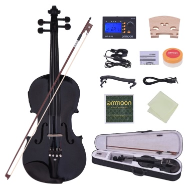 ammoon Full Size 4/4 Acoustic Electric Violin Fiddle Solid Wood Body Ebony Fingerboard Pegs Chin Rest Tailpiece Bow Hard Case Tuner Shoulder Rest Rosin Extra Strings & Bridge White Color